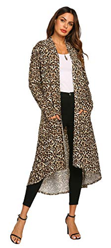 OURS Women's Long Sleeves Leopard Print Cardigan Open Front Outwear Coats with Pocket(S, Lepoard)