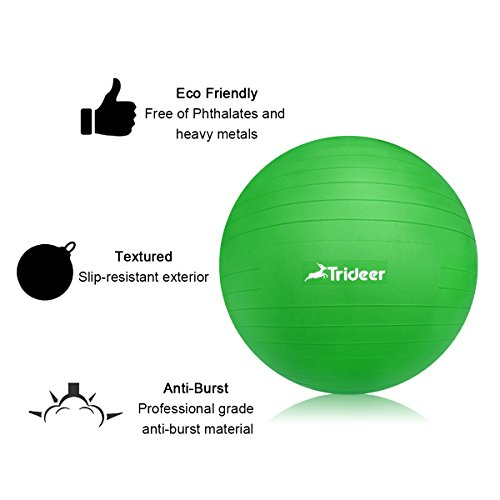 Exercise Ball, Yoga Ball, Birthing Ball with Quick Pump, Anti-Burst & Extra Thick, Heavy Duty Ball Chair 45cm 55cm 65cm 75cm 85cm Stability Ball Supports 2200lbs (Office&Home) (Lime, 45cm) by Trideer (Image #4)