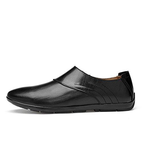 Color Hombres de de Mocasines Cuero los de Hueco Mocasines Casuales shoes EU conducción Opcional Caballeros los imitación de tamaño Zapatos los 38 Barcos Meimei de Negro Superiores de A8gTwqxxE
