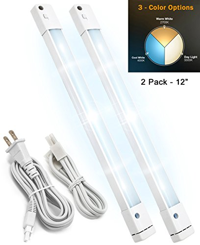 LED Concepts Under Cabinet Light Bar with 3 Color Options (Soft White/Warm White/Daylight) Linkable - Ultra Slim - Great for Kitchen, Bathroom, Vanity, Closet, Task Lighting (12 Inch - 2 PK)