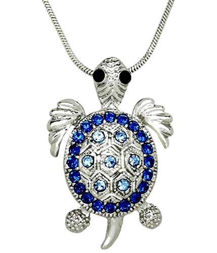 - DianaL Boutique Beautiful Sea Turtle Charm Pendant Necklace Blue Crystals in a Gift Box Fashion Jewelry for Women Teens Girls