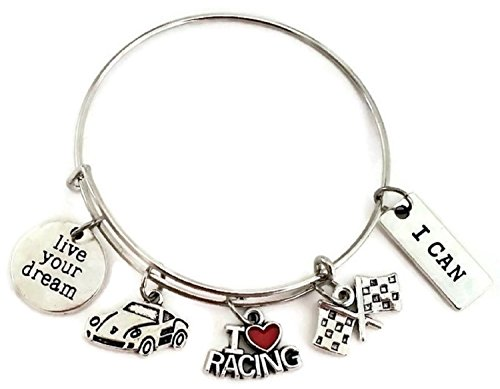 Kiss Jewelry Bracelet - Kit's Kiss Racing Bracelet, Racing Jewelry, Sports Bracelet, Racing Car Bracelet, Racing Charm Bracelet, Racing Charm, Racing Flag Charm, Racing Gift, Racing car Charm, Racing Bangle Bracelet