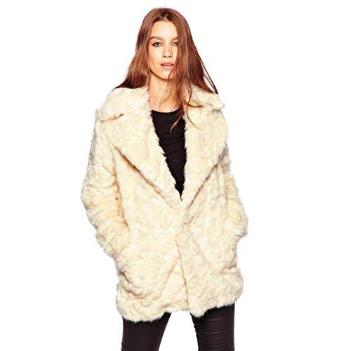 Internet Abrigo de piel sintética cálido para mujer New Ladies Chaqueta de cuello de traje salvaje suave Chaqueta de invierno Anorak Ropa de calle Beige