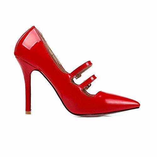 Studio Elegantes Vernis Aiguille Rouge Sexy Femmes Mary Avec Soirée Bout Jane Pour Talon Y2y Pointu Boucles Journée q6gwxCqd