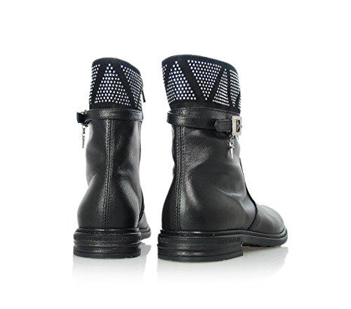 CESARE PACIOTTI - Schwarze Stiefeletten aus Leder, Strass-Dekoration, Mädchen