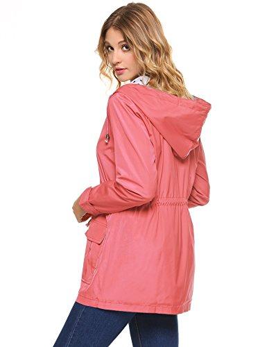 Hooded Jacket Coat Waterproof Outdoor Lightweight Windbreaker Pink Trench Rain Women Raincoat iClosam CqwtSfxt