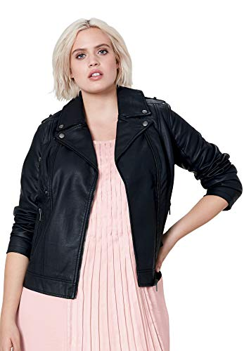 Ellos Women's Plus Size Faux Leather Moto Jacket - Black, 20