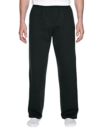 Fruit of the Loom Men's Elastic Bottom (Black Sweatpants)