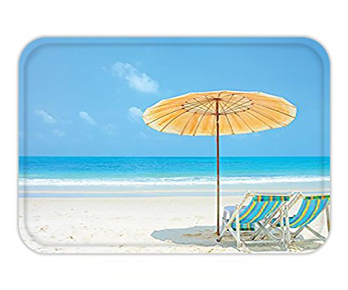 Minicoso Doormat Coastal Decor Collection Clean Calm Sea and Sunbeds for Couples in Love Relaxation Space in Thailand Photography Blue Aqua Ivory