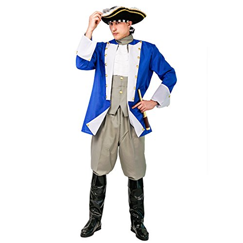 Adult Men's Colonial General Costume for Cosplay Party (M, Colonial General) -