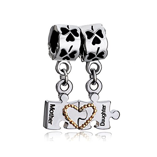 her Daughter Heart Puzzle Piece Autism Awareness Charms Bead for Bracelet (Matching Heart Mother Daughter) ()