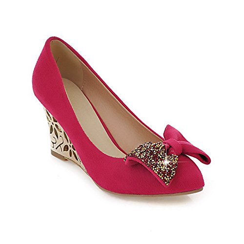 VogueZone009 Womans Closed Round Toe High Heel wedges PU Frosted Solid Pumps with Bowknot Peach
