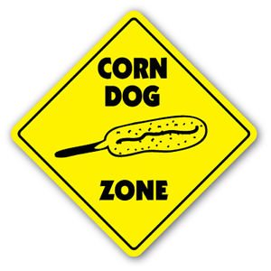 CORN DOG ZONE Sign Decal vendor trailer concessions carnival restaurant food fair (Carnival Man With Direction Sign)