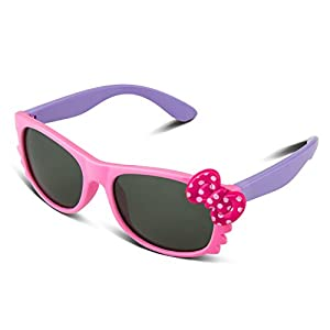 RIVBOS RBK002 Rubber Flexible Kids Polarized Sunglasses for Baby and Children Age 3-10 (Mirrored Lens Available)(3376-pink)