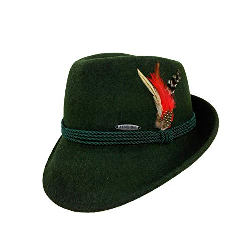 Austrian & German Style Green Alpine Tyrolean Wool Hat with Feather & Rope by E.H.G. |X-Large