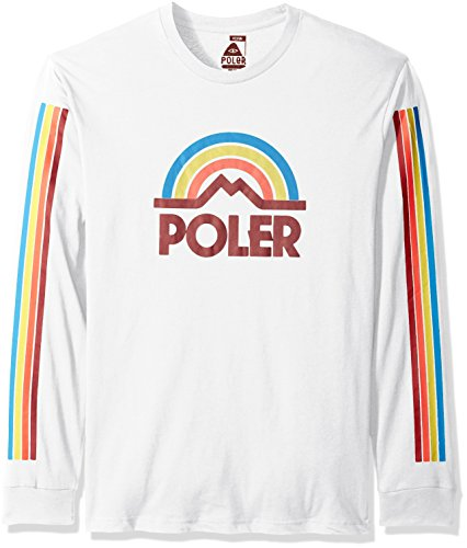 Poler Men's Mtn Rainbow Long Sleeve T-Shirt, White, Small