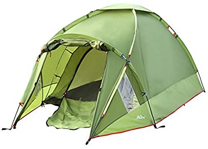 Moko Waterproof Family Camping Tent Portable 3 Person Outdoor Instant Cabin 4 Season Double Layer Army Green