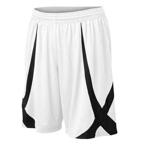 TopTie Men's Basketball Shorts, Active Running Shorts, Jersey Short, No Pockets-White-M