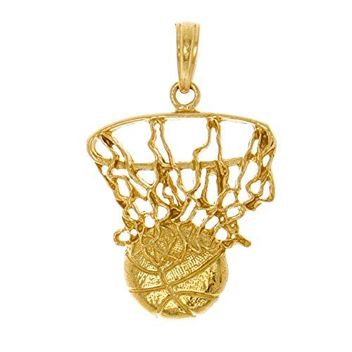 14k Yellow Gold Sports Charm Pendant, Swoosh Basketball & Net (Gold Pendant Charm 14k Sports)
