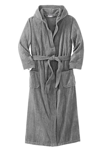 Kingsize Men's Big & Tall Terry Velour Hooded Maxi Robe, Pewter Tall-2Xl/3X