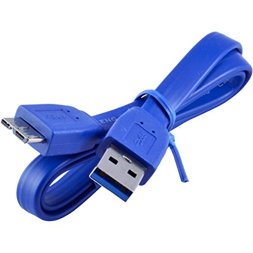 JacobsParts Flat Tangle-Free Short USB 3.0 Cable A-Male to Micro-B (2 Foot)