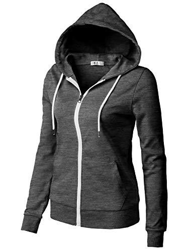 H2H Women's Kangaroo Pocket Zipup Long Sleeve Hoodie Charcoal US 2XL/Asia 2XL (CWOHOL030)
