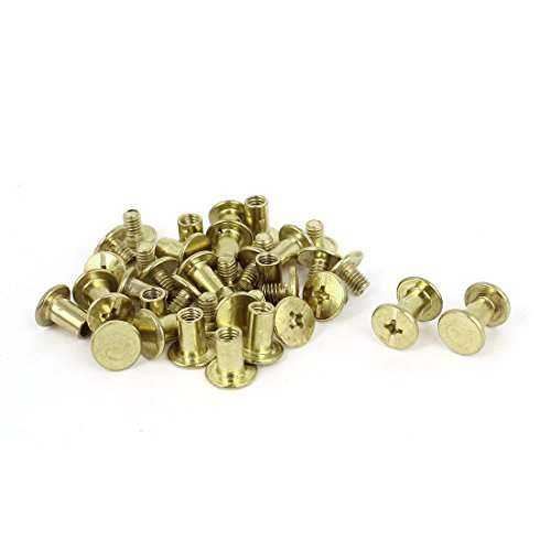 Album Purse Brass Plated 5x8mm Binding Chicago Screw Post 20pcs (Brass Screw Post Binding)
