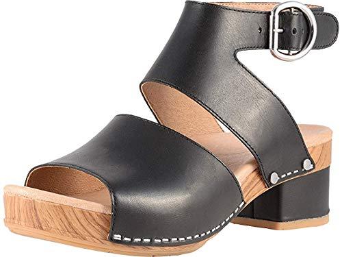 Dansko Womens Minka Black Full Grain Sandal - 37