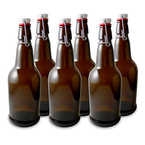 Secure Swing 16 oz Beer Bottles with Ceram-Seal Ceramic Cap for Fermentation & Carbonation of Beer, Soda, Kombucha - 6 Pack - Amber ()