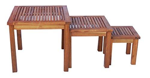 Zen Garden Eucalyptus Set of 3 Square Nested Side Tables, Teak Wood Finish, Teak Yellow (Table Eucalyptus Wood)
