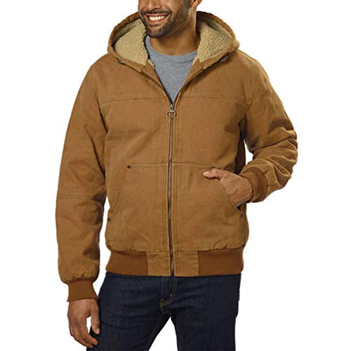 G.H. Bass & Co Men's Canvas Hooded Bomber Jacket; Brown (Large) ()