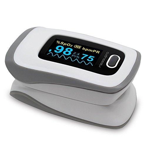 MeasuPro OX250 Instant Read Digital Pulsoximeter mit Alarmzeit, OLED-Farbdisplay und Tragetasche, CE-geprüft, FDA zugelassen