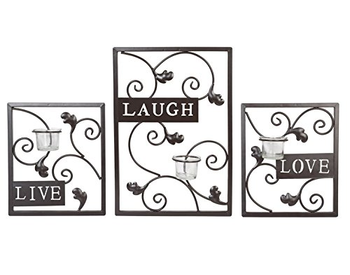 Hosley Set of Three Dark Brown Iron T-Lite Wall Sconce - Laugh, Love, Live; Hand made by Artisans. Ideal Gift for Wedding, Spa, Aromatherapy, Tea light Votive Candle Gardens O3 by Hosley