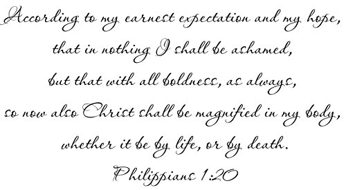 Philippians 1:20 KJV Wall Art, According to my earnest expectation and my hope, that in nothing I shall be ashamed, but that with all boldness, as always, so now also Christ shall be magnified in my body, whether it be by life, or by death