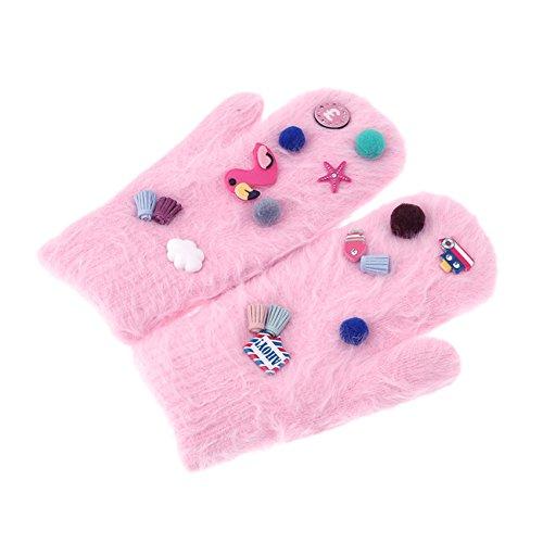 Rurahキュート冬暖かいニット手袋ミトンフル指手袋 As description Rurah B076F6BNX3 Pink cartoon Pink cartoon