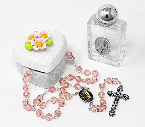 Swarovski Rosary Beads with a Porcelain Heart Rosary Box - Lourdes Gift ()