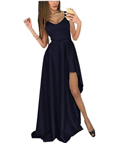 Satin Slit High Long Amore Dress Women Evening Wedding Navyblue Gown Prom Bridal Vintage qtqg0I