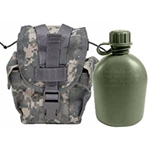 Military Outdoor Clothing Never Issued U.S. G.I. 1 quart Olive Drab Military Canteen with Previously Issued U.S. G.I. 1 quart ACU MOLLE Canteen/General Purpose Pouch