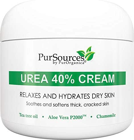 PurSources Urea 40% Foot Cream - No Pumice Stone - Best Callus Remover - Moisturizes and Rehydrates Feet, Knees & Elbows - For Thick, Cracked, Rough, Dead & Dry Skin - 4 oz - 100%
