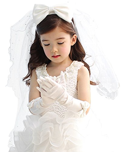 Bienvenu Flower Girls White Catholic Religious First Communion Veil Headband with Bow,Head Band_Bowknot