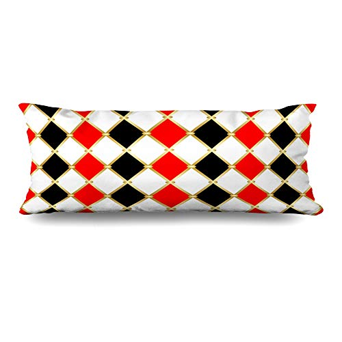 Ahawoso Body Pillows Cover 20x54 Inches Gold Circus Harlequin Patterns Golden Grid Red Vintage Geometry Carnival Clown White Abstract Joker Decorative Cushion Case Home Decor Pillowcase ()