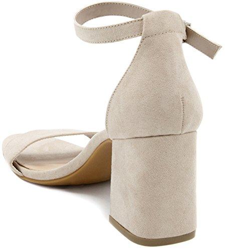 Mari A Nova Bloc De Chaussures À Talons Talon Robe De Chaussures Sandale Taupe Micro