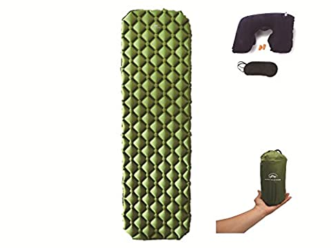 Lightweight Self-Inflation Sleeping Pad For Camping, Backpacking, Hiking With Travel Accessories, Easy To Carry & To Fold w/ Ultra-Compact Bag By Ampm - Travel Pad