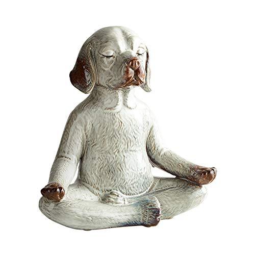 Pier 1 Imports Antiqued Ivory Stoneware Yoga Meditation Dog Figurine by Pier 1 Imports