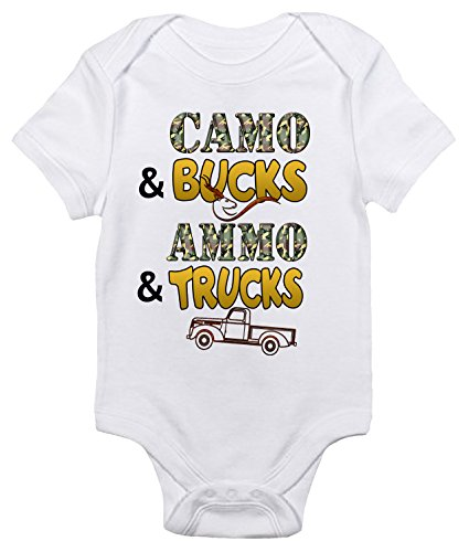 Camo And Bucks Ammo And Trucks Baby Bodysuit Cute Hunting Baby Clothes  3 6 Months  White