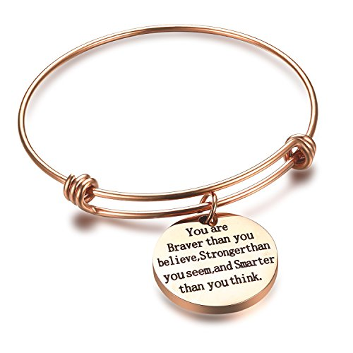 Rose Gold Stainless Steel Bracelet - QILMILY Adjustable Stainless Steel Rose Gold Bangle with Charm You are braver than you believe Expandable Wire Bracelet for Women