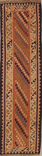 Rug Source One-of-A-Kind Kilim Tribal Geometric Hand-Woven 2x8 Orange Wool Antique Persian Runner Rug (7' 9