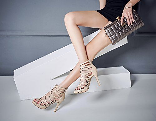 Lizform Donne Scarpe Con Plateau Incrociate Scarpe Sandali Indietro Scarpe Da Sposa Strappy Scarpe Tacco Alto Nude