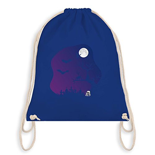 Shirtracer Halloween - Friedhof gruselig Totenkopf Mond - Turnbeutel I Gym Bag Royalblau