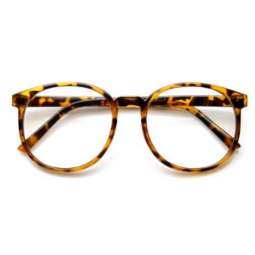 zeroUV - Vintage Inspired Round Circle Spectacles Clear Lens Horn Rimmed P-3 Glasses - Men Glasses Oversized For